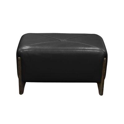 Monaco Leather Ottoman Upholstery: Black