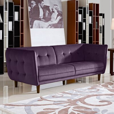 Venice Button Tuft Chesterfield Sofa Upholstery: Purple