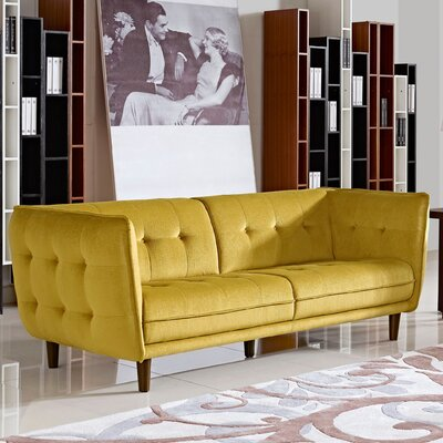 Venice Button Tuft Chesterfield Sofa Upholstery: Yellow