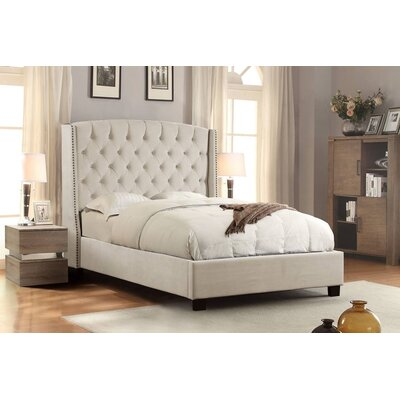 Marcela Tufted Upholstered Panel Bed Size: California King, Upholstery: Tan