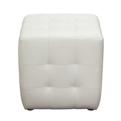Aidan Bonded Leather Tufted Cube Accent Ottoman Upholstery: White