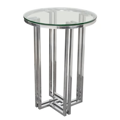 Fletcher Round Polished Stainless Steel End Table