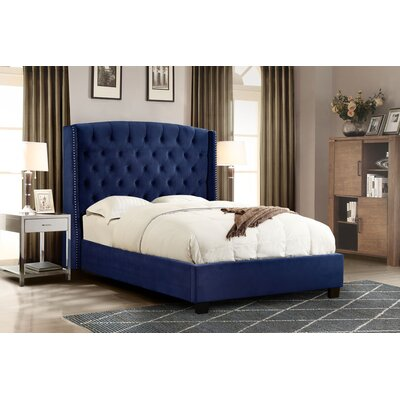 Marcela Tufted Upholstered Panel Bed Upholstery: Royal Navy , Size: King