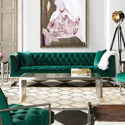 Lamas Tufted Sofa Upholstery: Emerald Green
