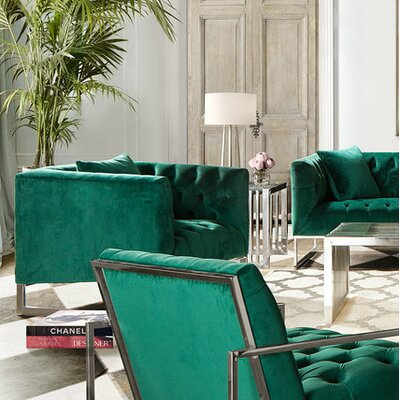 Lamas Tufted Chair Ulphostery: Emerald Green