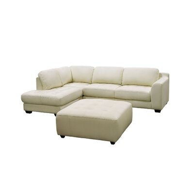 Zen Left Leather Chaise Modular Sectional