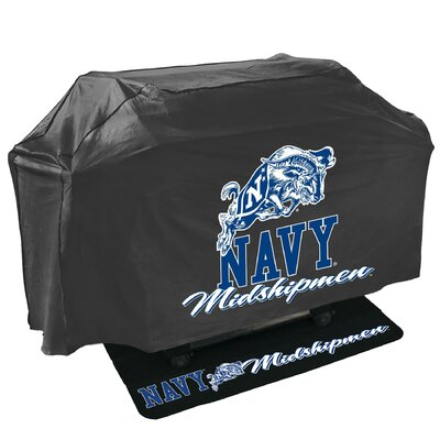 2 Piece NCAA Grill Cover and Grill Mat Set NCAA Team: Navy Midshipmen