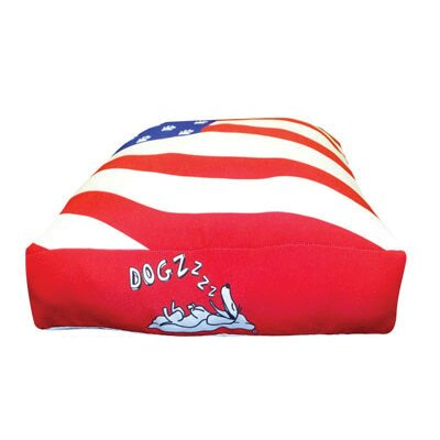 Rectangle American Flag Dog Pillow Size: Medium (30 L x 24 W)