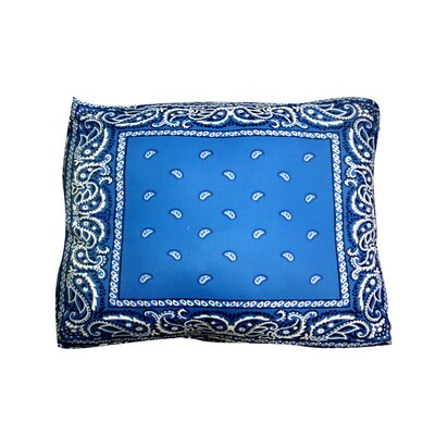 Rectangle Bandana Dog Pillow Size: Large (36 L x 30 W), Color: Blue