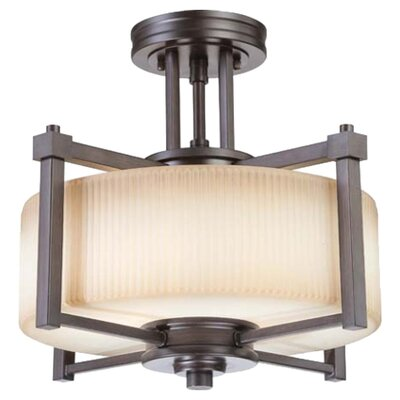 Ridley 2-Light Semi Flush Mount Finish / Glass Finish: Prairie Bronze / Amaretto Glass