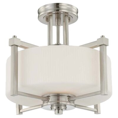Wright 2-Light Semi Flush Mount Finish / Glass Color: Brushed Nickel / Satin White