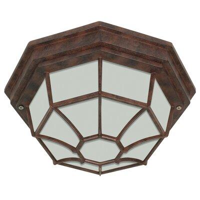 1-Light Flush Mount Bulb Type: Fluorescent, Finish: Old Bronze