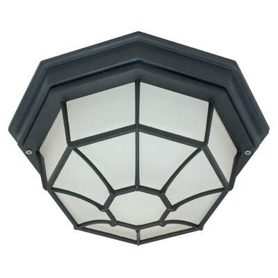 1-Light Flush Mount Bulb Type: Fluorescent, Finish: Textured Black