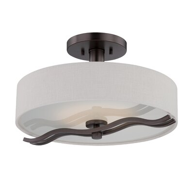 Wave 1-Light Semi Flush Finish: Hazel Bronze