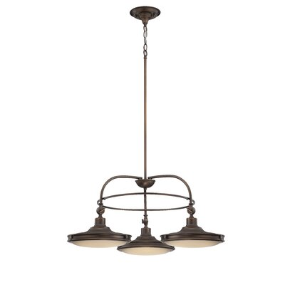 Houston 3-Light Shaded Chandelier Finish: Antique Brass