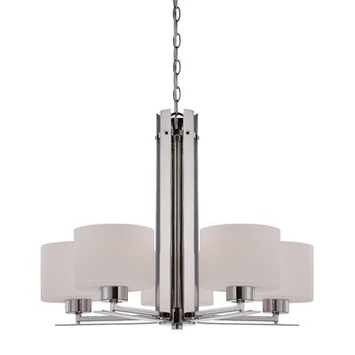 Parallel 5-Light Drum Chandelier Finish: Polished Nickel