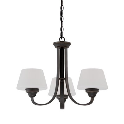 Ludlow 3-Light Shaded Chandelier Finish: Russet Bronze