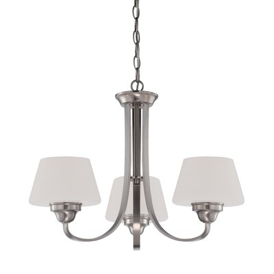 Ludlow 3-Light Shaded Chandelier Finish: Brushed Nickel