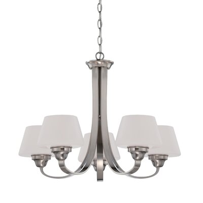 Ludlow 5-Light Shaded Chandelier Finish: Brushed Nickel