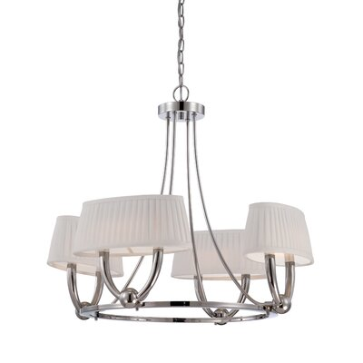 Kent 4-Light Shaded Chandelier Finish: Polished Nickel