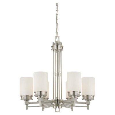 Wright 6-Light Shaded Chandelier Finish / Glass Color: Brushed Nickel / Satin White