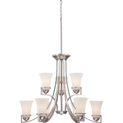 Nevel 9-Light Shaded Chandelier Finish: Brushed Nickel