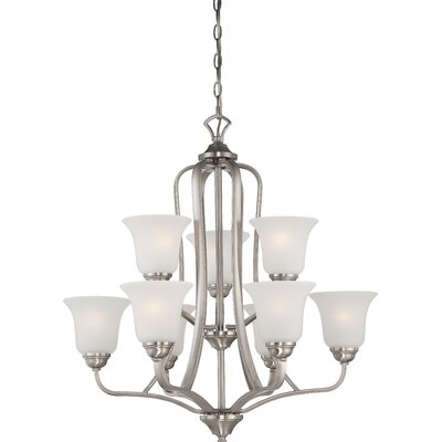 Elizabeth 9-Light Shaded Chandelier Finish: Brushed Nickel