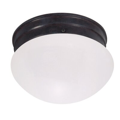 Yancy 1-Light Flush Mount Size: 5.125 H x 7.625 W x 7.5 D, Feature: Energy Star, Shade Color: White