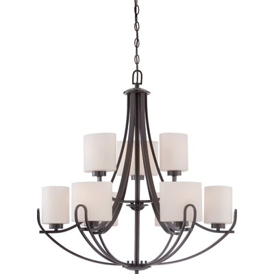 Lola 9-Light Shaded Chandelier Finish: Georgetown Bronze