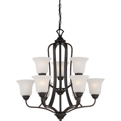 Hardin 9-Light Shaded Chandelier Finish: Sudbury Bronze