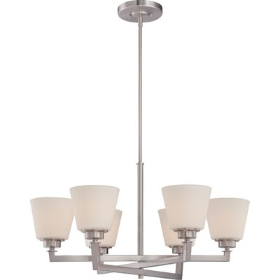Mobili 6-Light Shaded Chandelier Finish: Brushed Nickel