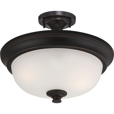 Elizabeth 2-Light Semi Flush Mount Finish: Sudbury Bronze