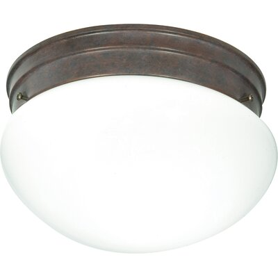 2-Light Flush Mount Finish: Old Bronze, Shade Color: White