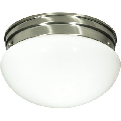 2-Light Flush Mount Shade Color: White, Finish: Brushed Nickel
