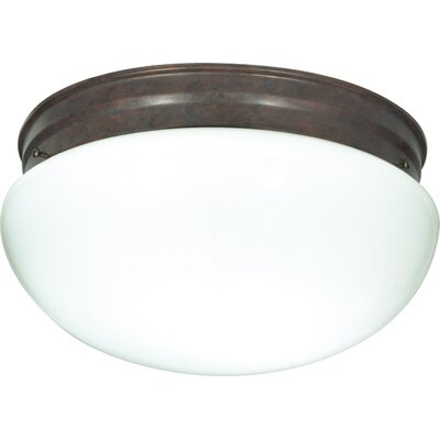 Chacon 2-Light Glass Shade Flush Mount Finish: Old Bronze