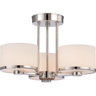 Triangulum 3-Light Semi Flush Mount Finish: Polished Nickel