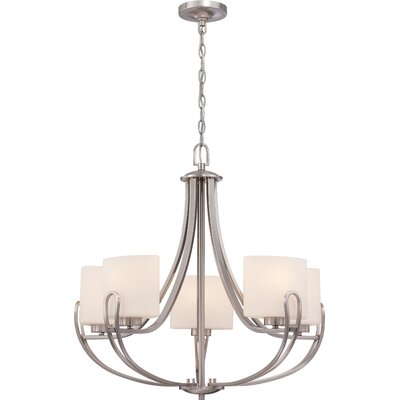 Fenderson 5-Light Shaded Chandelier Finish: Brushed Nickel