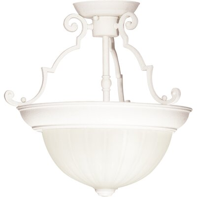 2-Light Semi Flush Mount Finish: Textured White