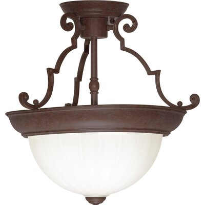 2-Light Semi Flush Mount Finish: Old Bronze