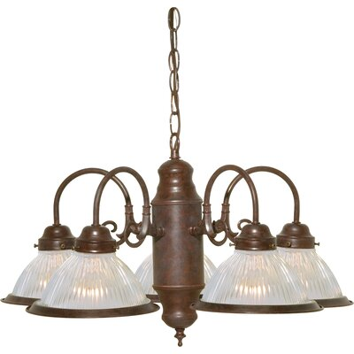 Cummingham 5-Light Shaded Chandelier Finish: Old Bronze