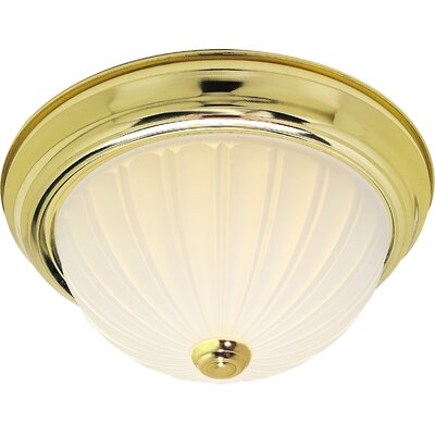David 3-Light Flush Mount Finish: Polished Brass, Size: 6 H x 15.25 W x 15.5 D