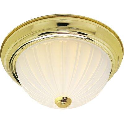 3-Light Flush Mount Finish: Polished Brass, Size: 6 H x 15.25 W x 15.5 D