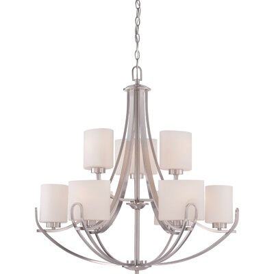 Lola 9-Light Shaded Chandelier Finish: Brushed Nickel