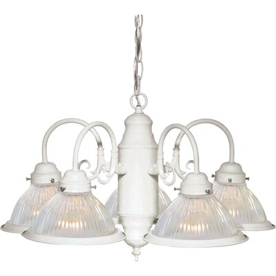 5-Light Shaded Chandelier Finish: Textured White
