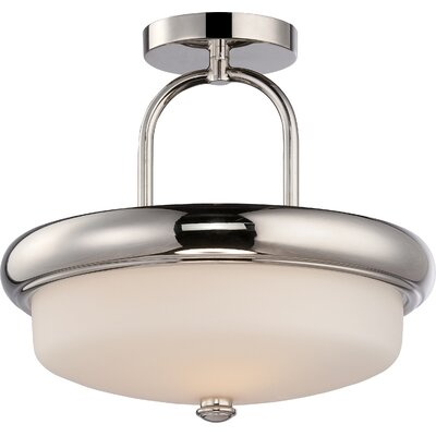 Burhill 2-Light Semi Flush Mount Finish: Polished Nickel