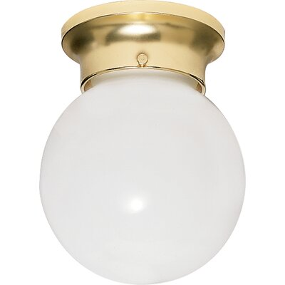 1-Light Semi Flush Mount Size: 7.25 H x 6 W x 6.75 D, Finish: Polished Brass