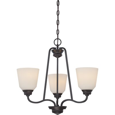 Calvin 3-Light Shaded Chandelier Finish: Mahogany Bronze