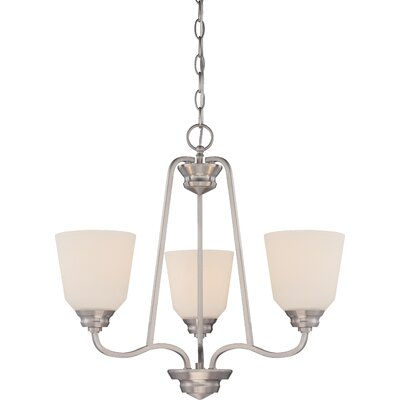 Calvin 3-Light Shaded Chandelier Finish: Brushed Nickel