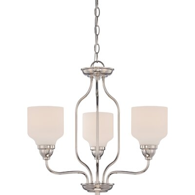 Craine 3-Light Shaded Chandelier Finish: Polished Nickel