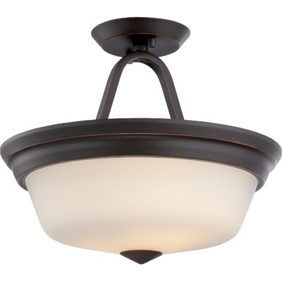 Calvin 2-Light Semi Flush Mount Finish: Mahogany Bronze